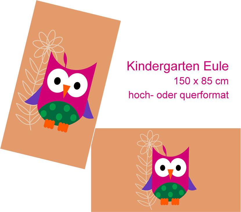Eule als Mattenmotiv von Werbeteppichen speziell für Kindegärten
